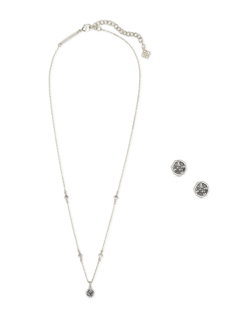 Nola Drusy Necklace & Earrings Gift Set | Multiple Colors
