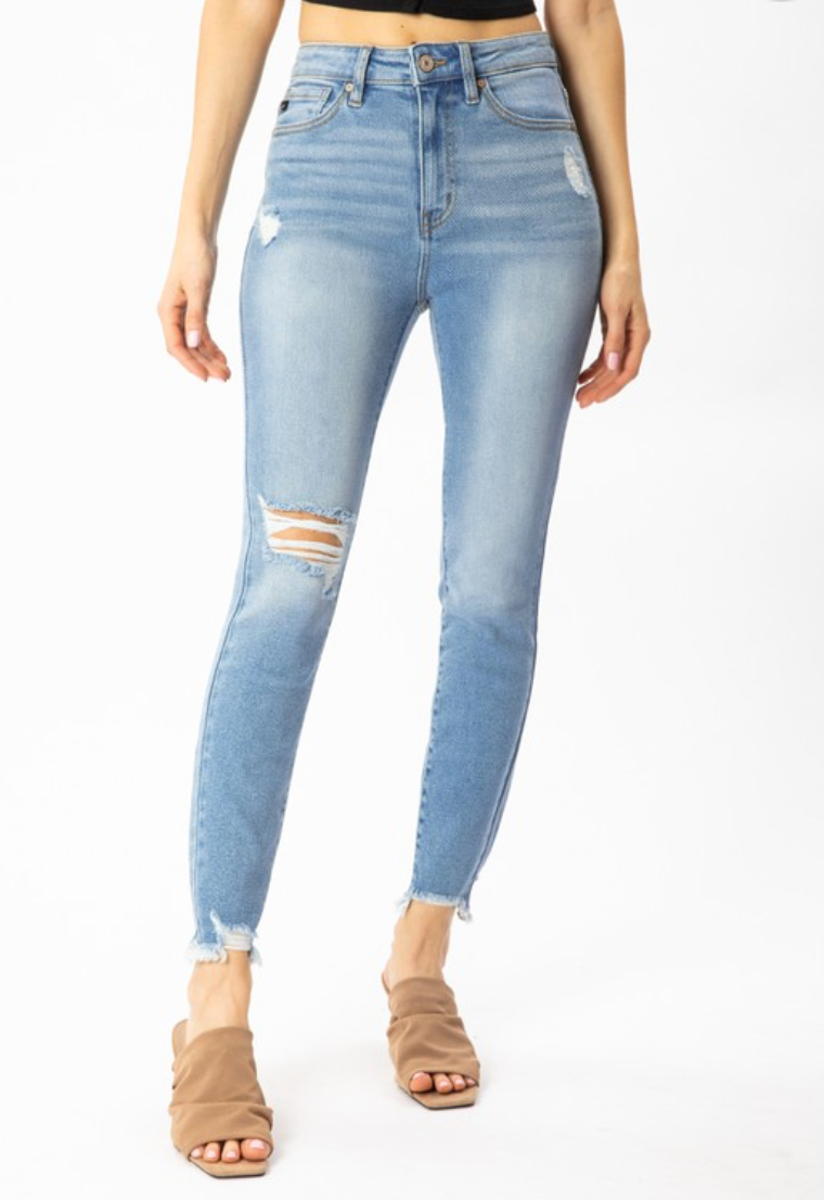 Owasso Distressed Ankle High Rise Denim | KanCan Brand