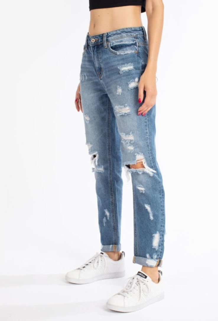 Idabel Distressed Boyfriend Denim | KanCan Brand
