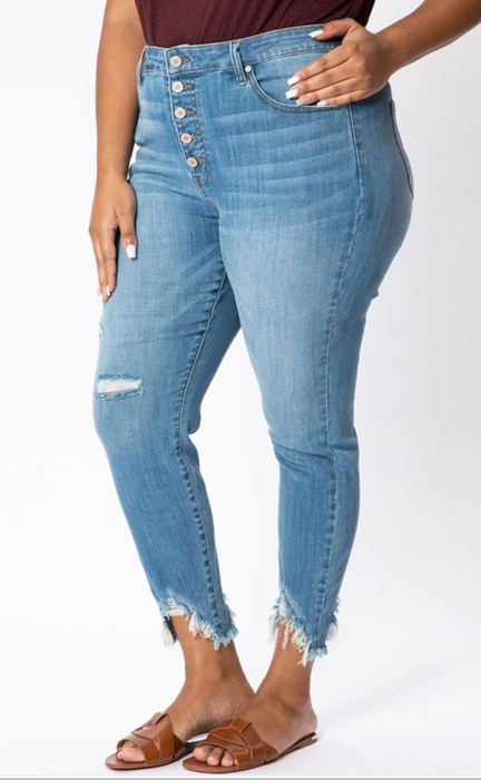 Moore Button Up + High Waist Distressed Ankle Denim | KanCan Brand | Plus Size