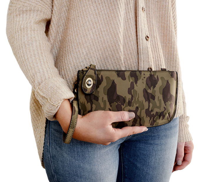 Mini Crossbody Wristlet Clutch in Camo  | Joy Susan