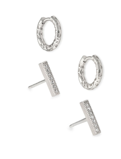 Maggie Huggie & Austin Bar Earring Set | Gold & Rhodium