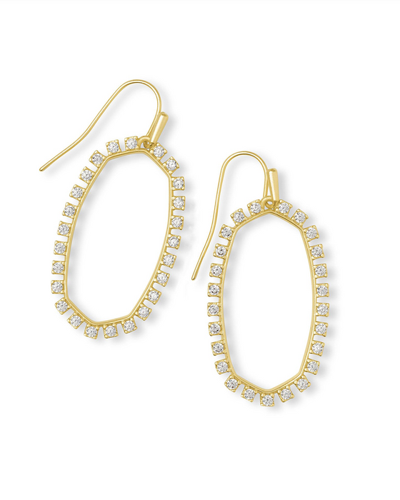 Elle Open Frame Crystal Drop Earrings | Multiple Colors