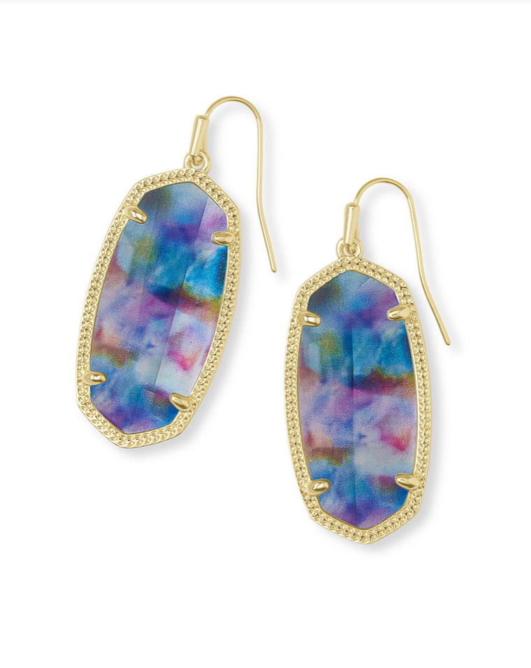 Elle Drop Earrings in Teal Tie Dye Illusion | Limited Edition