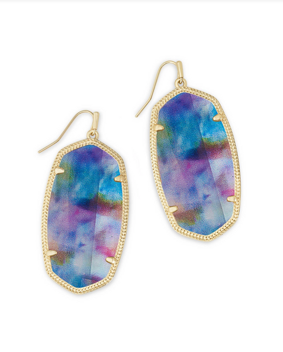 Danielle Earrings In Teal Tie Dye Illusion | Limited Edition
