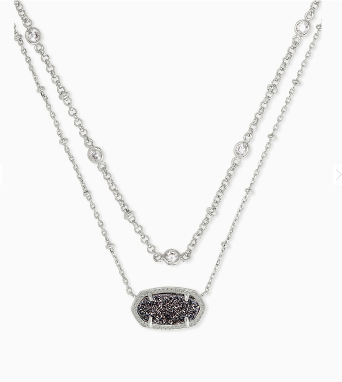 Elisa Crystal Multistrand Necklace in Drusy | Multiple Colors