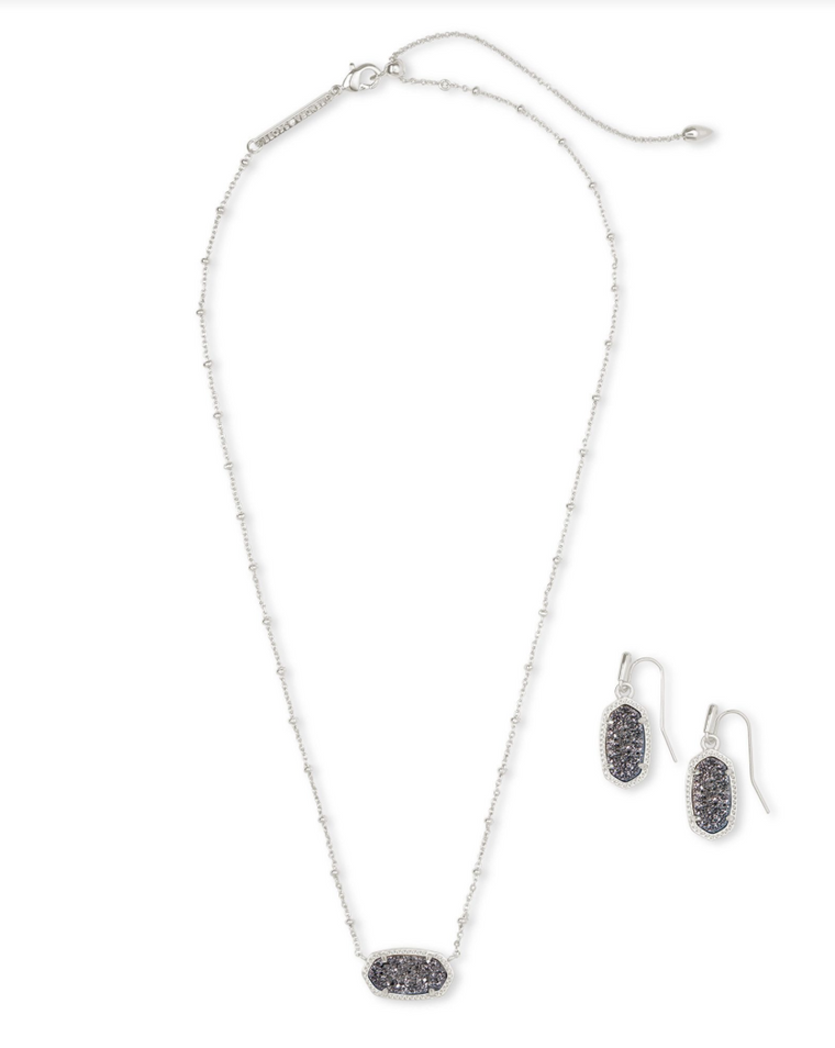 Elisa Necklace & Lee Earring Drusy Gift Set | Multiple Colors