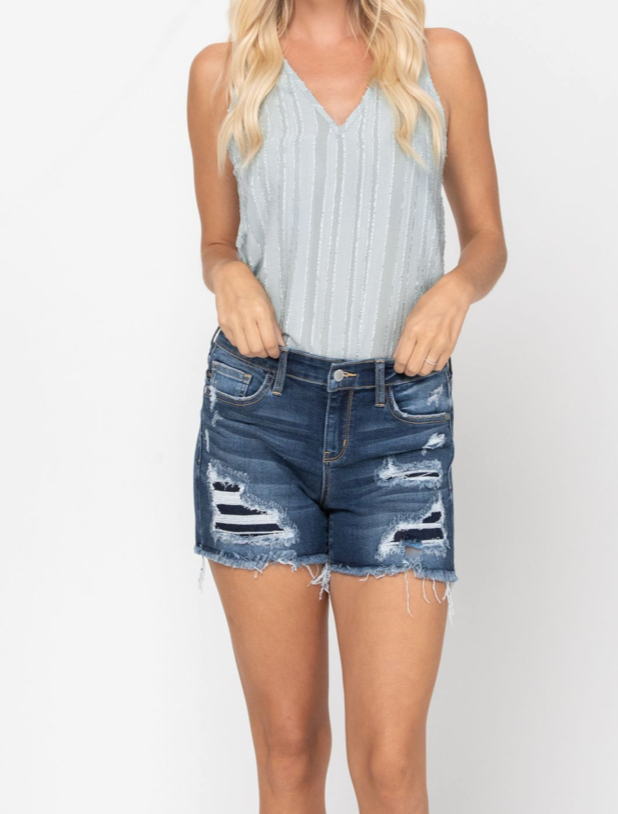 Vice Distressed Patch Cut Off Shorts | S-3X
