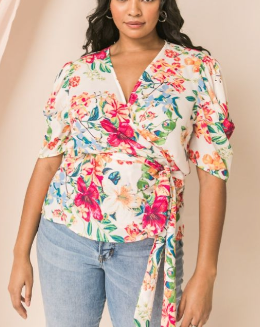 Take Me to Tahiti Floral Wrap Top | Plus Size