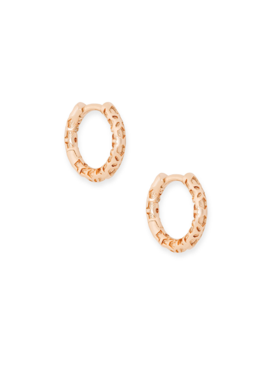 Maggie Huggie Filigree Earring | Rose Gold