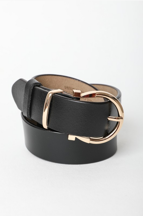 Wide Horseshoe Gold Buckle Leather Belt | Multiple Colors