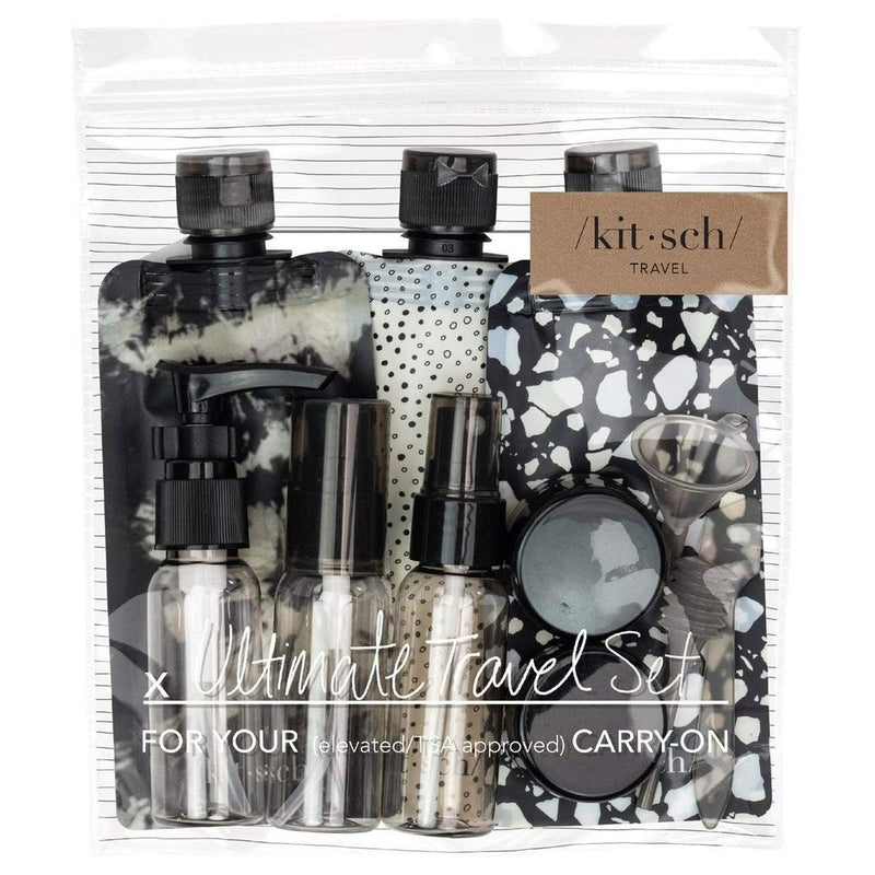 Ultimate Refillable Travel Set |  Black & Ivory