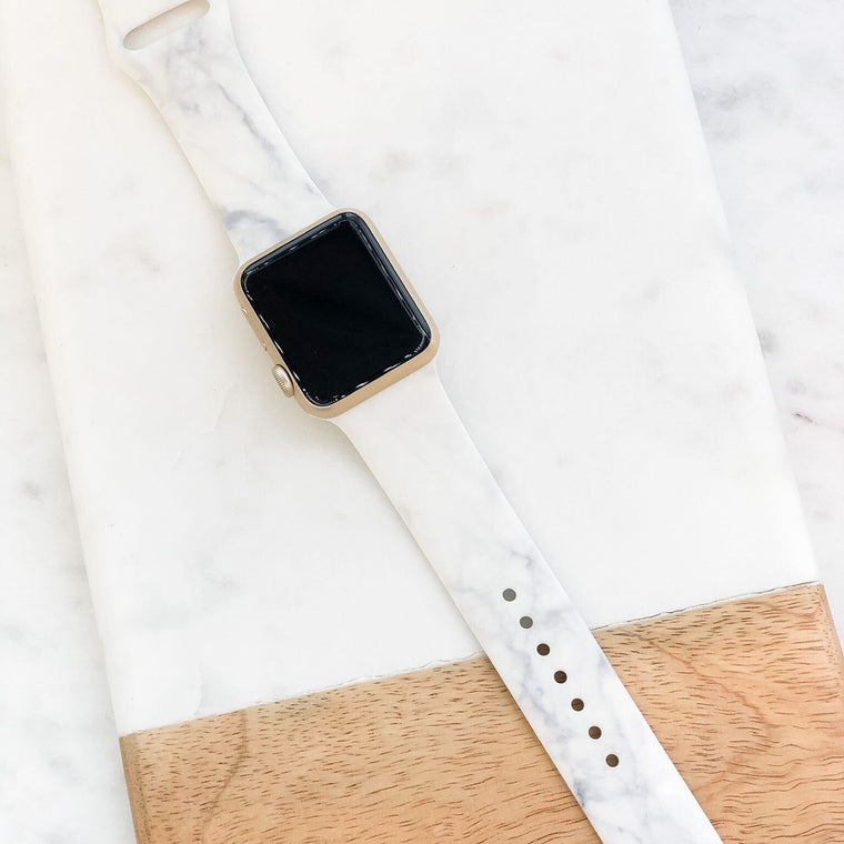 White Marble Smart Watch Silicone Band | M/L Size