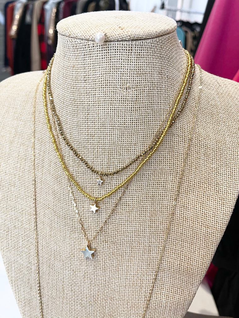 Stars Beaded Layered Necklace  | Gold + Silver