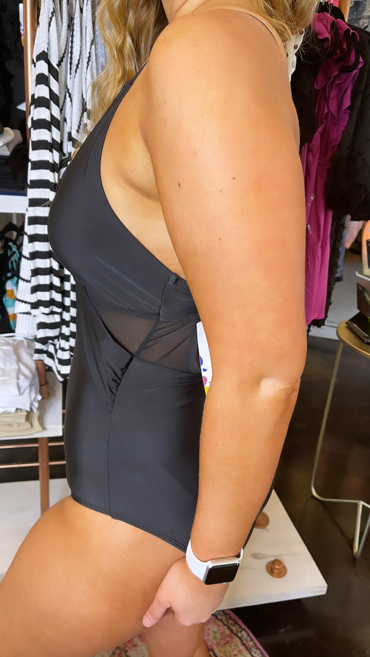 Classic Chic Cross Mesh Black One Piece Swimsuit | S-XL