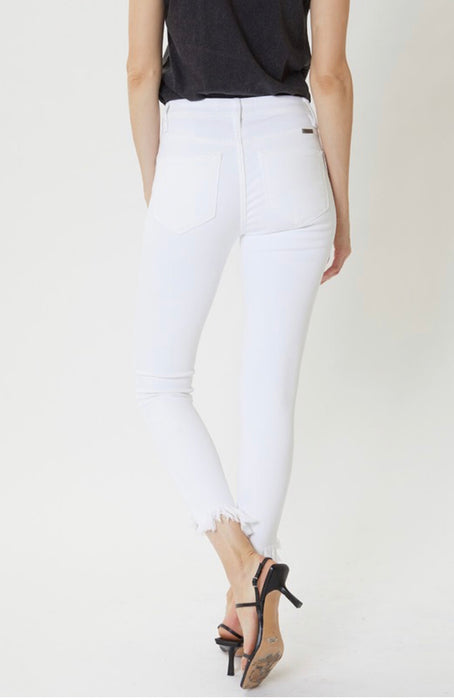 Vinita White High Rise Distressed Ankle Denim  | KanCan Brand