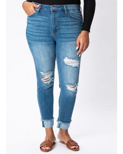 Carter Distressed Rolled High Rise Denim | KanCan Brand | Plus Size