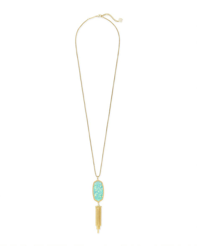 Rayne Drop Necklace in Iridscent Mint Illusion