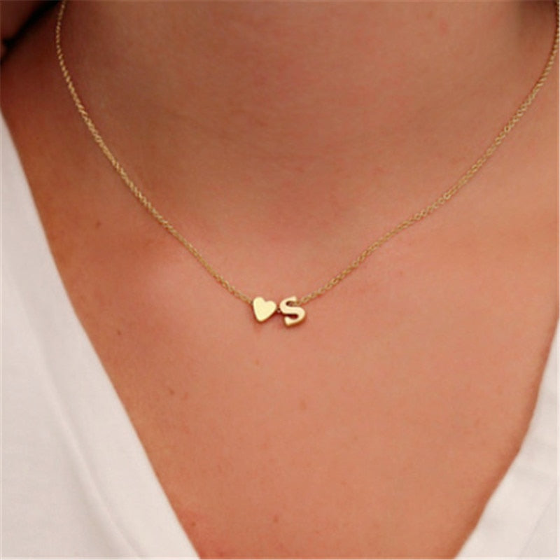 girlfriend gift Tiny Dainty Heart Initial Necklace
