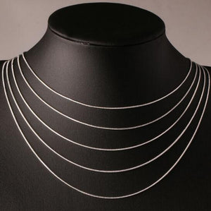 "16""-24"" 40-60cm 1mm 925  Italy  stamped silver Necklaces"