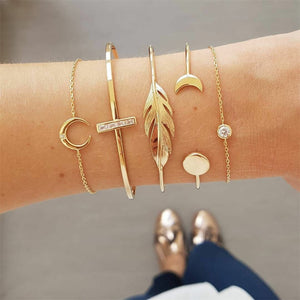 KISS WIFE 5Pcs/Set Gold Chain Moon Leaf Crystal Geometry Open Bracelet