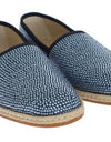 Blue Canvas Swarovski Strass Loafers
