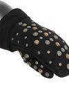 Gray Wool Shearling Studded Gloves
