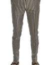 White Black Striped 100% Silk Pants