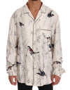 White Bird Print Silk Pajama Shirt