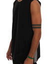 Black Cotton Crew-neck Sleeveless T-Shirt