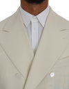Beige Wool Stretch Slim Fit Blazer Jacket