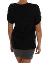 Versace Black Stretch Ruffled T-Shirt