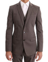 D&G Beige Cotton Slim Fit Two Button Suit