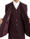 Bordeaux Slim 3 Piece Double Breasted Suit
