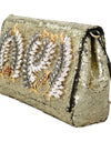 Gold Crystal Sequined Shoulder Clutch Bag