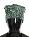Green White Wool Winter Beanie