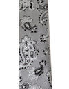 White Silk Black Paisley Slim Tie