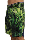 Green Leaves Print Silk Shorts