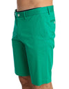 Green Cotton Stretch Chinos Shorts