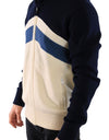 Blue White Wool Mens Hooded Sweater