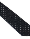 Blue Silk White Polka Dot Print Slim Tie