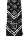 Black Silk White Bird Print Tie