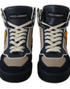 High Beige Blue Leather Sneakers Shoes