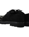Black Shoes Crystal Studded Derby Shoes
