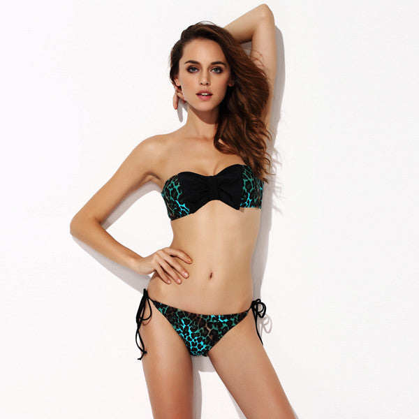 Bow Bikini in Green Leopard