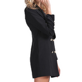 Double-Breasted Long Blazer Jacket