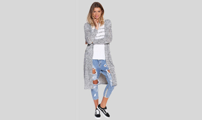 Long Light Grey Cardigan