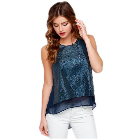 Navy Blue Sequin Top