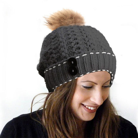 Button Beanie with Pom-Pom