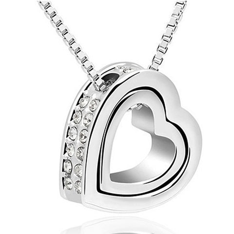 Swarovski Elements Double Heart Pendant Necklace